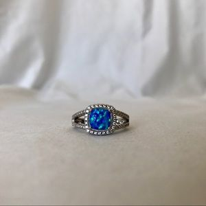 Jewelry - 18K White Gold Plated Blue Opal Ring with CZ Sz 7